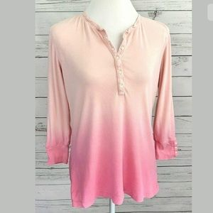 Chaps Top Pink 3/4 Sleeve Fitted Henley Cotton